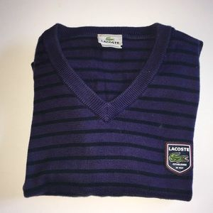 Lacoste Sweaters - Lacoste purple and black striped xxl sweater